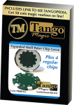 Expanded Shell Poker Chip Green plus 4 Regular Chips (PK001G)  by Tango Magic - Trick