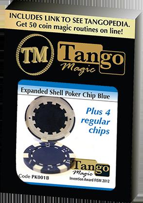 Expanded Shell Poker Chip Blue plus 4 Regular Chips (PK001B)  by Tango Magic - Trick