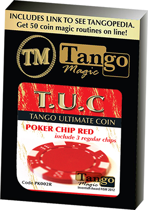 TUC Poker Chip Red plus 3 regular chips (PK002R) by Tango Magic - Trick