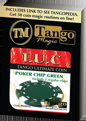 TUC Poker Chip Green plus 3 regular chips (PK002G) by Tango Magic - Trick