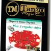 Magnetic Poker Chip Red  plus 3 regular chips (PK003R) by Tango Magic - Trick