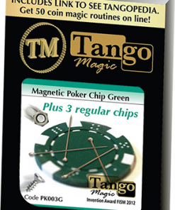 Magnetic Poker Chip Green plus 3 regular chips (PK003G) by Tango Magic - Trick