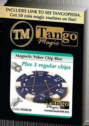 Magnetic Poker Chip Blue plus 3 regular chips (PK003B) by Tango Magic - Trick