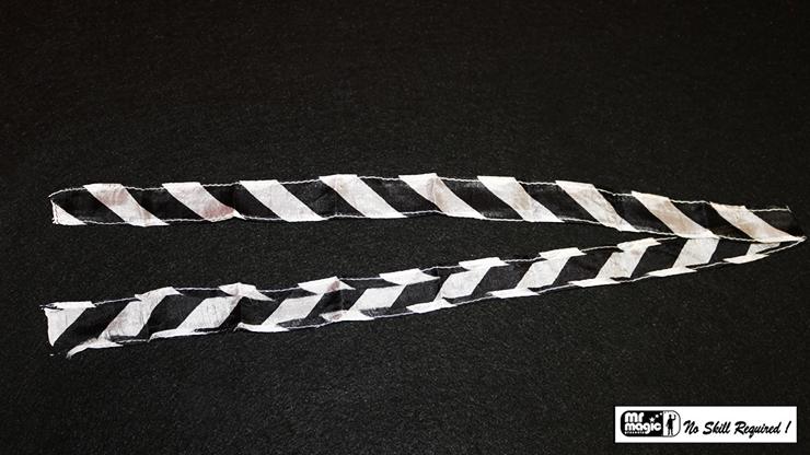 Thumb Tip Streamer Zebra 3' (Black and White) by Mr. Magic - Trick