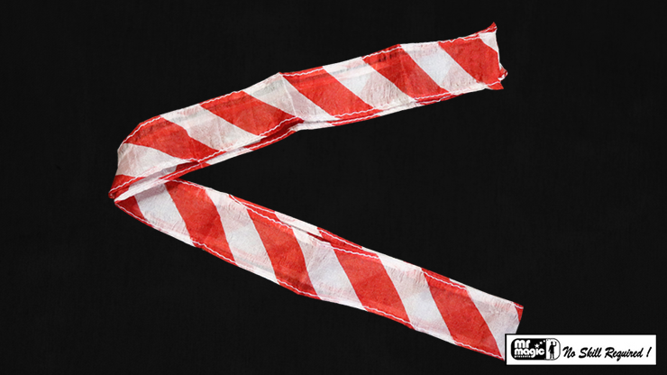 Thumb Tip Streamer Zebra 3' (Red and White) by Mr. Magic - Trick