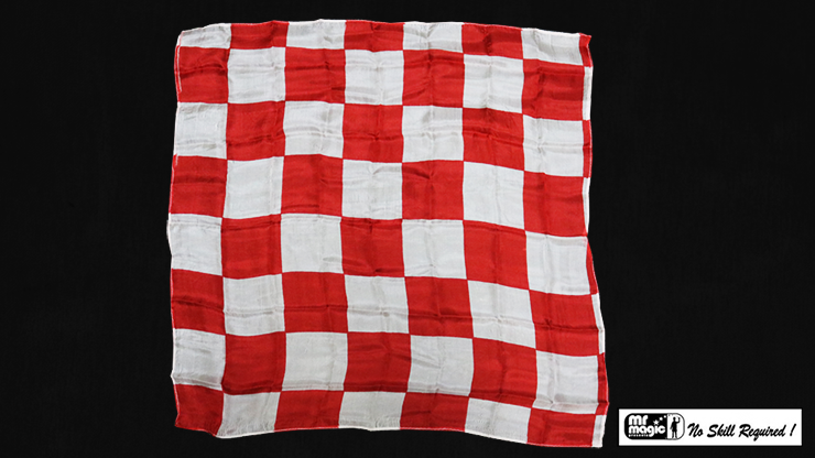 """Production Hanky Chess Board Red and White (21"""" x 21"""") by Mr. Magic - Trick"""