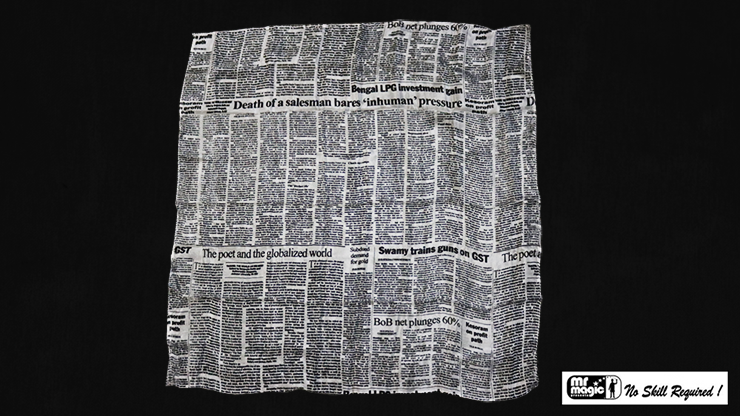 "Production Hanky Newspaper Print (21"" x 21"") by Mr. Magic - Trick"