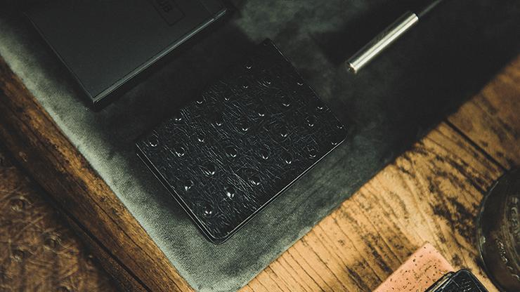 Ostrich Grain Leather Clip (Black/Blue) by TCC